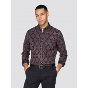 Ben Sherman Main Line Long Sleeve Gingham Argyle Shirt Medium Wine