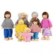 Balanu 7-Piece Wooden Doll Happy Family Pretend Play Dolls Mini People Figures for Baby Kids Girls