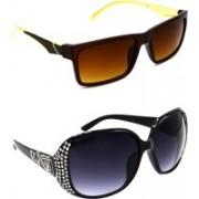 Hrinkar Rectangular Sunglasses(Brown, Grey)