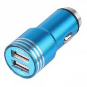 Incarcator auto Hammor Metal, Dual USB, Blue