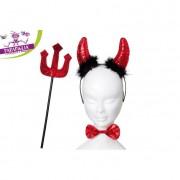 Set travestimento da diavolo corna rossa con con pelliccia nera , papillon e forcone rossi con glitter 442352 617