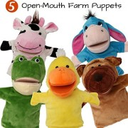 BETTERLINE 5-Piece Set Animal Hand Puppets/Zoo, Safari, Farm, Wildlife/Movable Open Mouth/Plush Pretend Toys (Farm Animals 1)