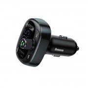 BASEUS S-09 T Typed (Rotate the Button to Adjust) 3.4A Bluetooth MP3 Car Charger with Dual USB outputs - Tarnish