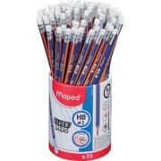 Creioane cu guma Black Peps Navy HB 72 buc/set Maped
