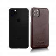 PIERRE CARDIN Genuine Leather Coated PC Back Phone Case for Apple iPhone 11 Pro Max 6.5 inch - Coffee