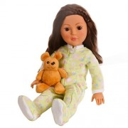 18 Inch Doll Soft Green Footed Heart Pajamas and Teddy Bear   Clothes Fit American Girl Dolls   Ones