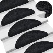 vidaXL 15 darab fekete lépcsőszőnyeg 56 x 20 cm