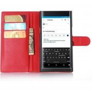 De grano lleno de cuero de la carpeta del tirón del teléfono cubierta de la caja para BlackBerry priv -Rojo