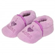 Babyslofjes Kraamcadeau paarse babyslofjes/pantoffels love mama
