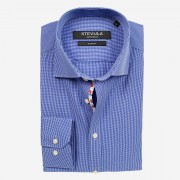 STEVULA Modrá košeľa s drobnou kockou, Slim fit Veľkosť: XXL 45/46