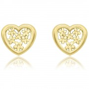 Cercei Borealy Aur Galben 9 K Flowers Heart