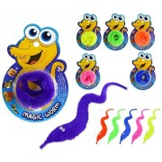 6 Pieces Magic Worms Assorted Color Twisty Wiggly Fuzzy Worm Toys for Children