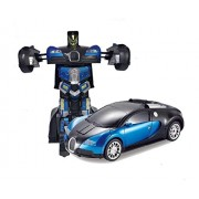 Emob 2 in 1 One Key Transformation Super Power One Key Deformation Robot Remote Control Toy (Blue)