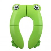 YeahiBaby Foldable Potty Training Seat Baby Travel Toilet Seat Covers Liners with Carry Bag Upgrade Non Slip Design Frog Shaped (Green)