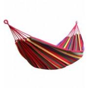 Hamac Single Multicolor pentru Curte sau Gradina Dimensiuni 200x100cm cu Cablu si Sac Depozitare