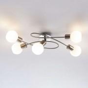 Lampenwelt.com Beau plafonnier LED Elaina à 5 lampes, nickel mat - LAMPENWELT.com
