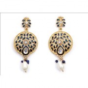 Indian Style Beaded Dangle Drop Fashionable Earrings Traditional Jhumka Jhumki Earrings for Women 11 BLUE