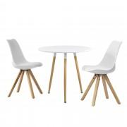 [en.casa]® Set de comedor mesa redonda blanca [Ø80cm] con 2 sillas blancas tapizadas