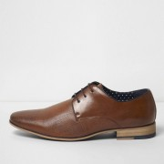 River Island Mens Tan textured lace-up formal shoes (Size 8)