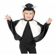 Zwart/witte kat poncho voor peuters