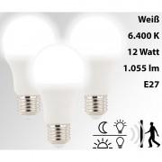 Luminea 3 LED-Lampen mit Radar-Bewegungs- & Lichtsensor, 12 W, E27, TW
