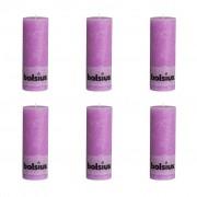 Bolsius Rustic Pillar Candles 6 pcs 190x68 mm Violet