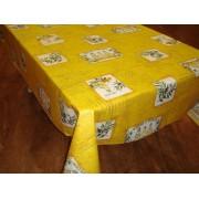 Mantel de Algodón Plastificado - Modelo PATCH OLIVES - Amarillo
