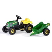 Pedálos traktor Rolly Kid utánfutóval - zöld