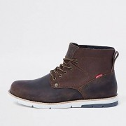 Levi's Brown leather lace-up work boots (Size 45)