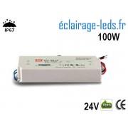 TRANSFORMATEUR LED 24V DC 100 WATTS IP67 ref te24-100