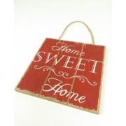 Akasztós feliratos fa tábla Home Sweet Home, bordó/Cikksz:150157