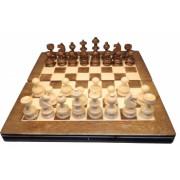 Joc sah si table din lemn 38x38 cm crem cu maro lucrat manual romanesc