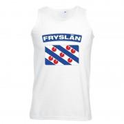 Shoppartners Singlet shirt/ tanktop Friese vlag wit heren