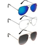 NuVew Aviator Sunglasses(Blue, Grey, Clear, Green, Violet, Red)