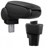 [pro.tec]® Reposabrazos central para Kia Pikanto de segunda generación (a partir de 2011) - apoyabrazos con compartimento - tapizado - tela - negro