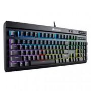 Клавиатура Corsair K68 RGB, Cherry MX Red клавиши, RGB подсветка, мултимедийни бутони, IP32 за устойчивост на прах и вода, черна, USB