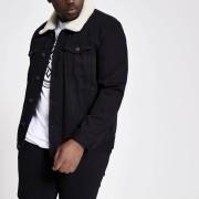 River Island Mens Big and Tall Black borg collar denim jacket (XL)