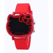 Caricatura Cat forma electrónica LED reloj de silicona de aleación de los niños miran