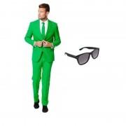Opposuits Groen heren kostuum maat 48 (M) met gratis zonnebril