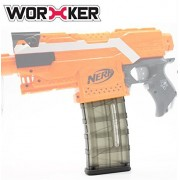 Worker Mod Modification 12 Darts Magazine Quick Reload Clip for Nerf Stryfe N-strike Elite Retaliator Blaster Color Black (Black Transparent, 21.5cm8cm3cm)