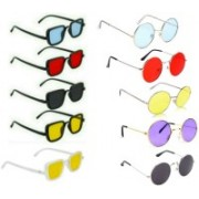 INSH Round, Rectangular Sunglasses(Black, Red, Yellow, Blue, Violet, Silver)