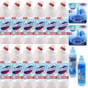Pachet - 6 x Domestos Ultra White dezinfectant universal Pentru vasul de WC 750ml + Odorizant toaleta Sano Fresh 55g + O