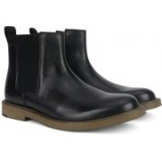 Clarks Feren Top Black Leather Boots For Men(Black)