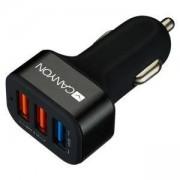 Зарядно устройство Canyon, от автомобилна запалка към 3x USB (ж), 5V, 2.1A, черно, CNE-CCA07B