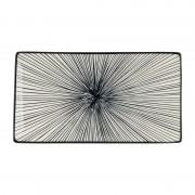 Xenos Tapas bord Sevilla - zwarte lijnen - 28x15,5 cm