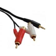 XtraSound 7515TW 3,5mm jack dugó - 2xRCA aljzat/2xRCA dugó összekötő kábel 1,5m - aranyozott