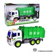 Purifier Recycle Trash Machine Shop Car Truck Vehicle Friction Powered Green and White 1:16 With Light and Music Six Wheels with Batteries