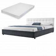 MyBed Cama tapizada + colchón 140x200cm blanco/negro cuero sintético + Textil - Castillonroy