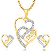 Sukkhi Love Gold And Rhodium Plated CZ Pendant Set For Women