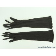 Guanti antichi lunghi in stoffa neri a136